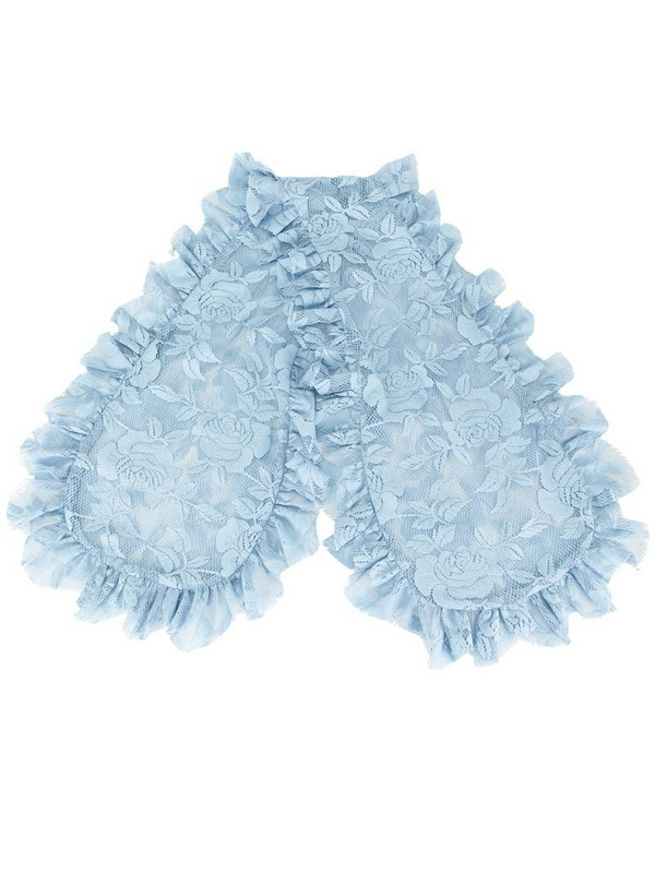 yuhan wang ruffled floral-lace scarf in blue