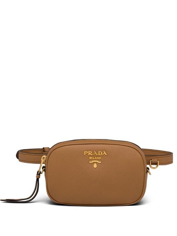 Prada logo plaque belt bag in brown