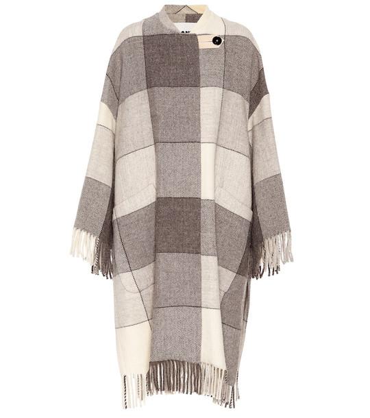 Jil Sander Checked wool coat in grey
