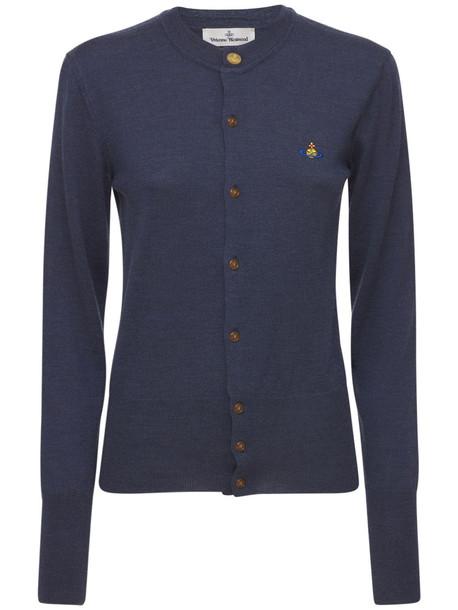 VIVIENNE WESTWOOD Wool Knit Cardigan in blue