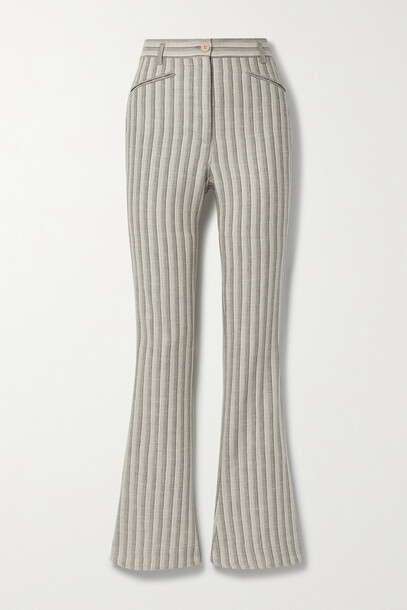 Acne Studios - Striped Wool And Cotton-blend Flared Pants - Ivory