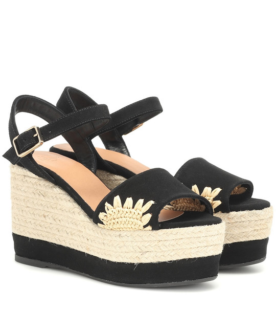 Castañer Elma suede wedge espadrilles in black
