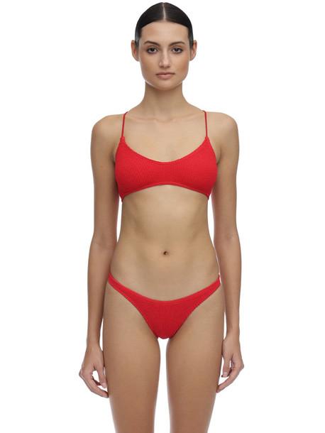 BOND EYE Selena Seersucker Bikini Top in red