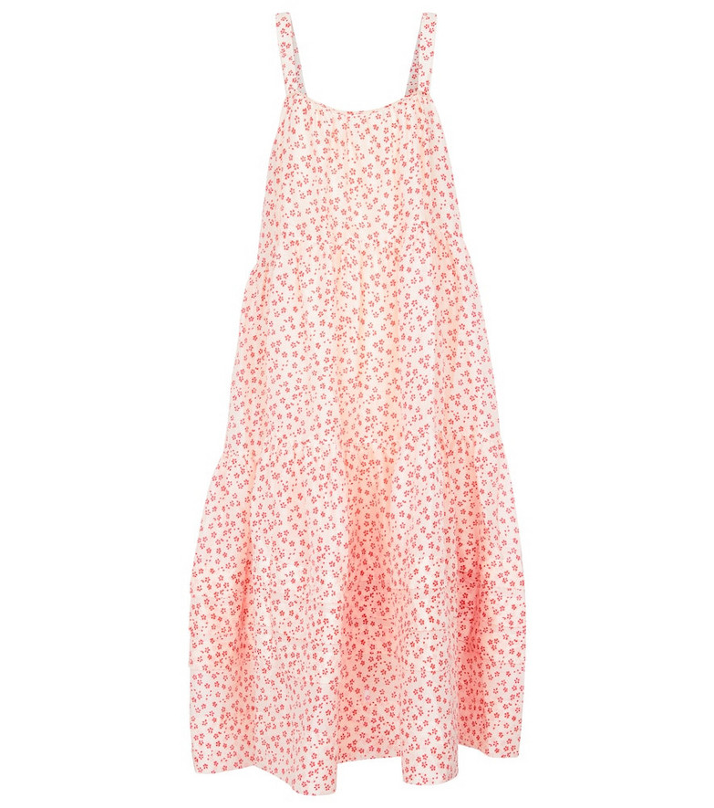 Lee Mathews Constance floral linen and silk midi dress in pink