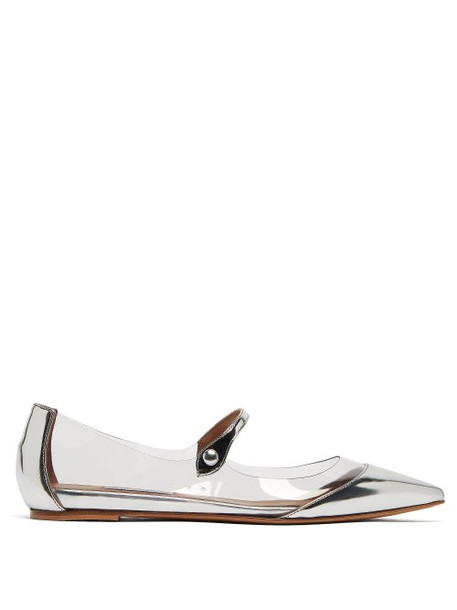 Tabitha Simmons - Hermione Leather And Pvc Mary Jane Flats - Womens - Silver