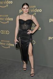 dress,black dress,ariel winter,slit dress,gown,golden globes,sandals,lace dress,celebrity,celebrity style,bustier dress