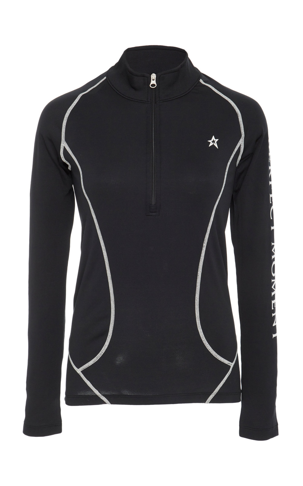 Perfect Moment Zip-Detailed Thermal Turtleneck Top in black