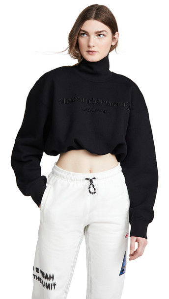 Alexander Wang Cropped Mock Neck Sweatshirt with Embroidery in black