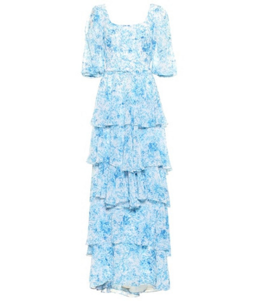 Costarellos Floral chiffon gown in blue