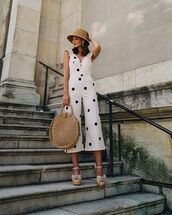 jumpsuit,white jumpsuit,sleeveless,polka dots,platform sandals,round bag,sun hat