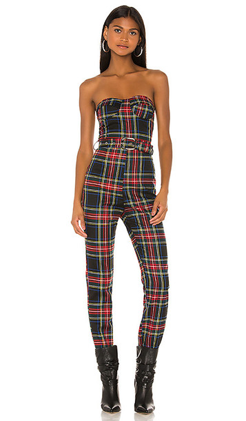 superdown Sable Strapless Jumpsuit in Red,Black,Green