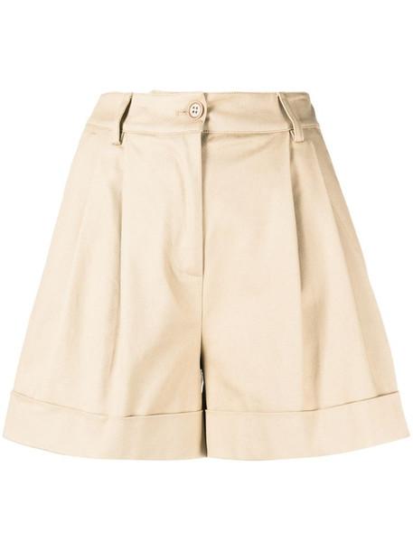 P.A.R.O.S.H. pleat detail cotton shorts in neutrals