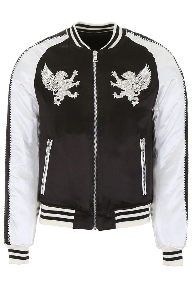 Balmain Embroidered Bomber Jacket in black / white