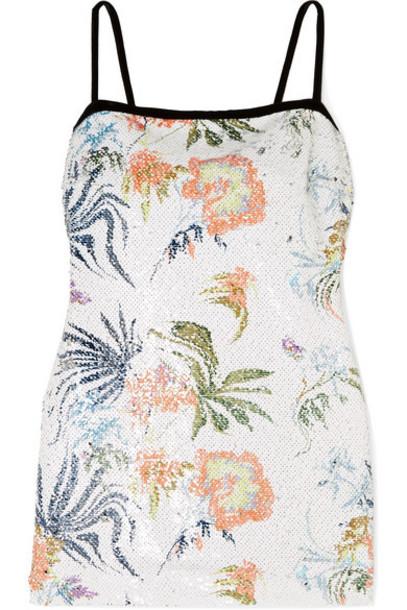 BLOUSE - Tender Fury Velvet-trimmed Open-back Sequined Chiffon Mini Dress - White
