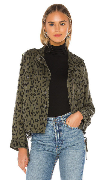 Rails Collins Jacket in Olive in green / leopard