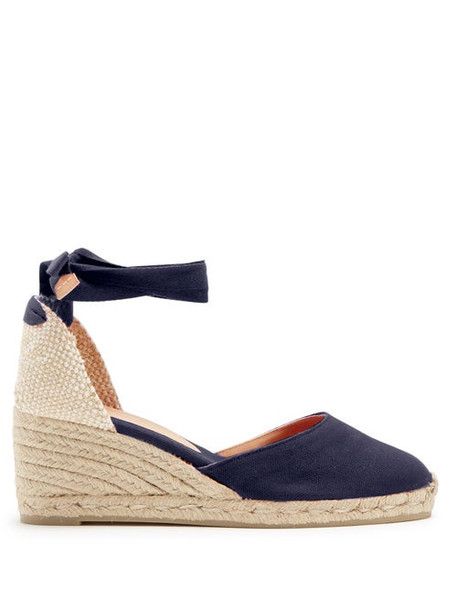 Castañer - Carina 60 Canvas & Jute Wedge Espadrilles - Womens - Navy