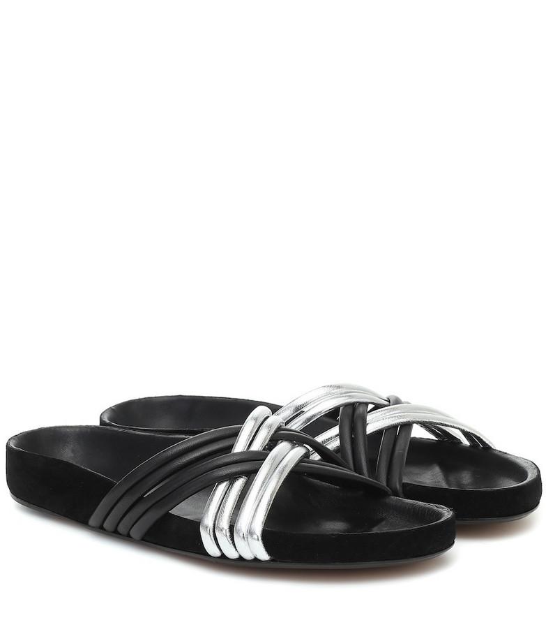 Isabel Marant Hellya leather slides in black