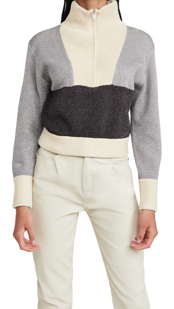 3.1 Phillip Lim Double Face Metallic Pullover With Front Zip in silver