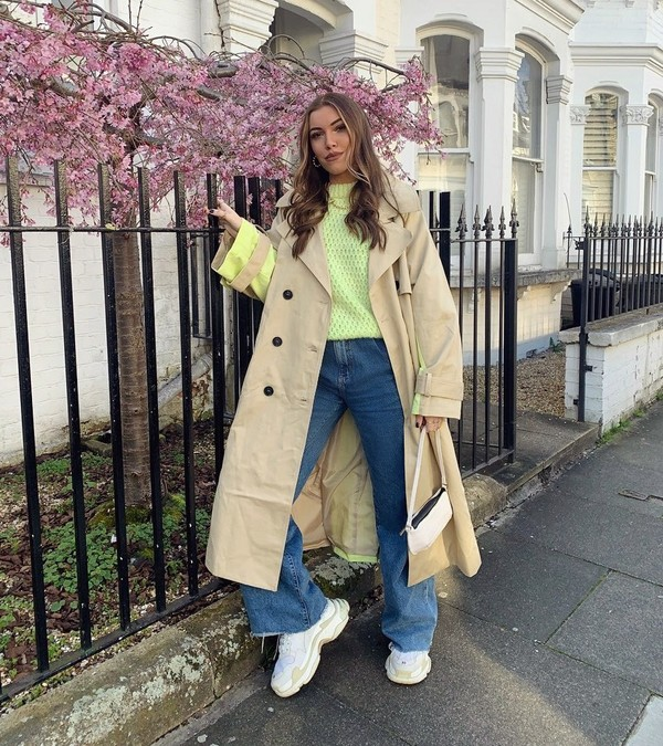 coat trench coat double breasted sneakers sweater bag