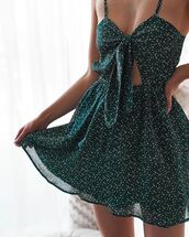 dress,green,pokadot,causal dress,dressy,polka dots,mini dress,a line dress,spaghetti strap,tie front,bow tie dress,front cutout,tea dress,cut-out,patterned dress,short dress