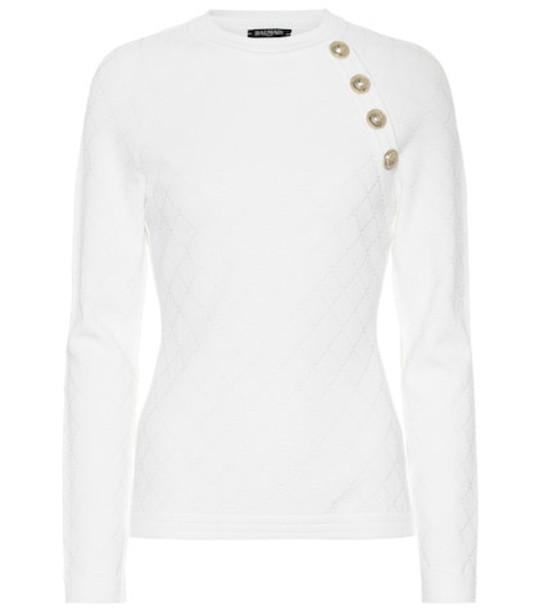 Balmain Jacquard sweater in white
