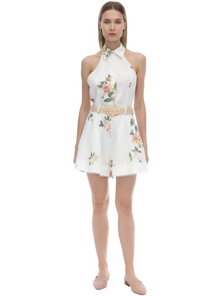 ZIMMERMANN Low Back Printed Linen Playsuit in pink / white