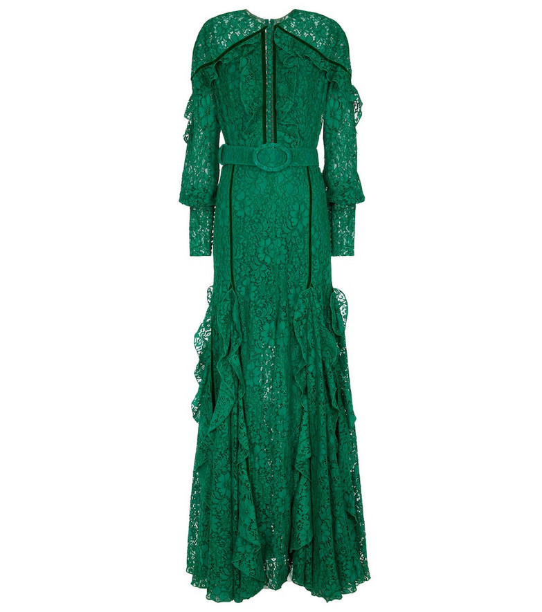Costarellos Patrice floral lace gown in green
