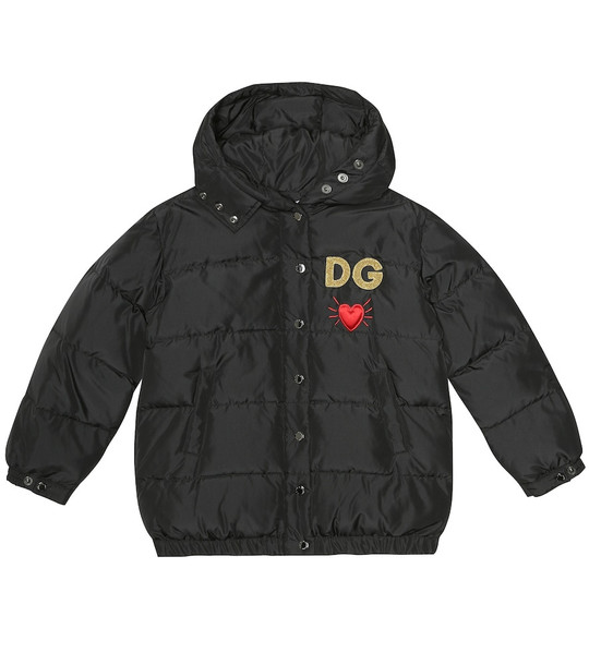 Dolce & Gabbana Kids Embroidered quilted jacket in black