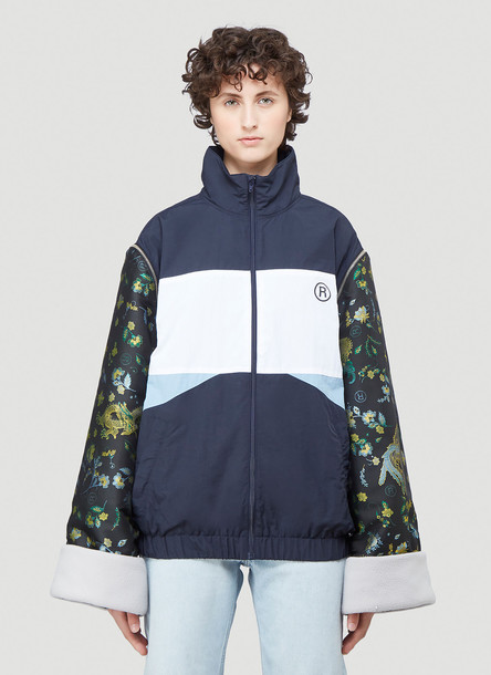 Martine Rose Jacquard Sleeve Track Jacket in Blue size L