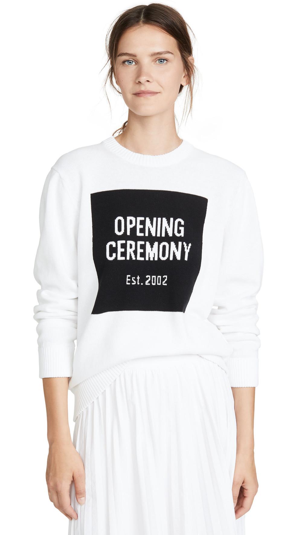 Opening Ceremony Box Logo Crew Neck Sweater in white / multi