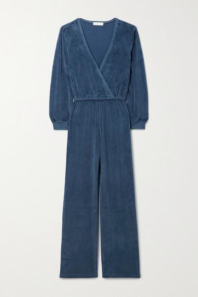 Suzie Kondi - Wrap-effect Cotton-blend Velour Jumpsuit - Blue