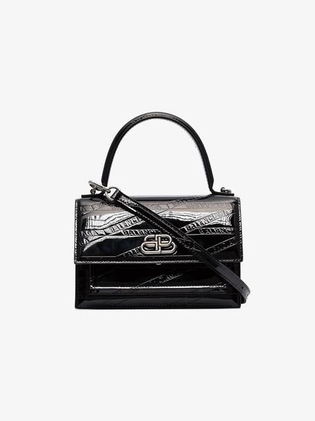 Balenciaga Black monogram patent leather tote bag