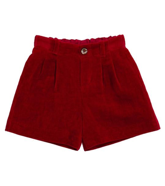 Gucci Kids Baby velvet shorts in red