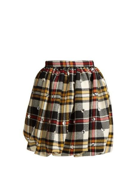 Miu Miu - Crystal Embellished Tartan Wool Mini Skirt - Womens - Ivory Multi
