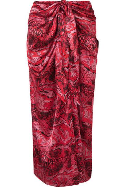 GANNI - Tie-front Printed Silk-blend Satin Midi Skirt - Red