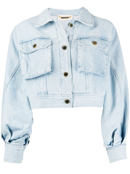 Alberta Ferretti cropped denim jacket in blue