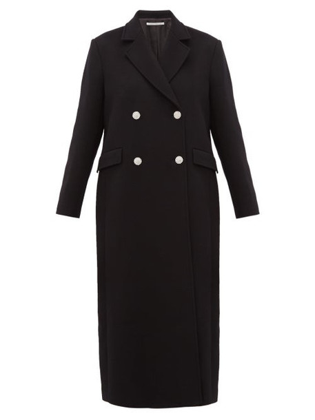 Alessandra Rich - Double Breasted Crystal Button Wool Blend Coat - Womens - Black