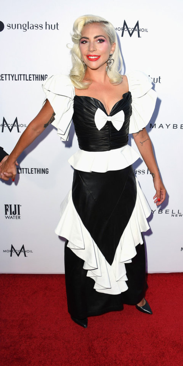 top black and white skirt lady gaga celebrity