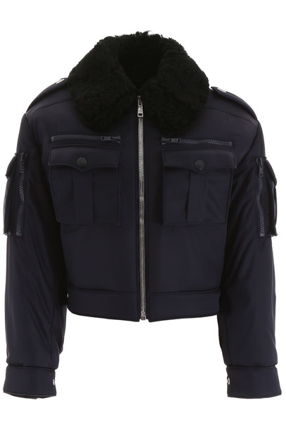 Prada Jacket With Shearling Collar in blue