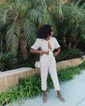 pants,nude pants,cropped pants,crop tops,matching set,sandals