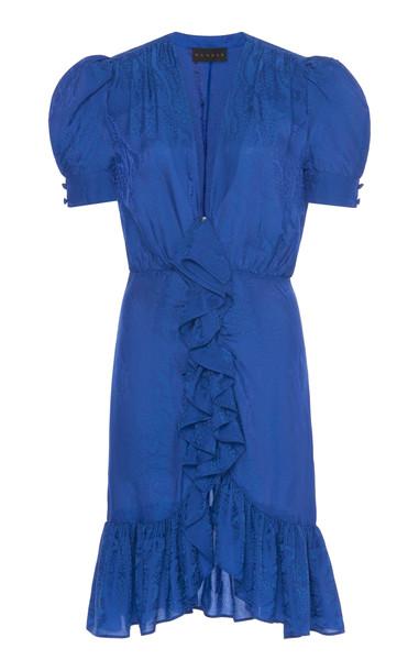 Dundas Ruffled Snake-Pattern Mini Dress Size: 36 in blue