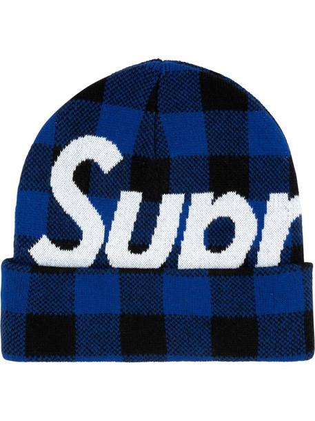Supreme big logo beanie in blue