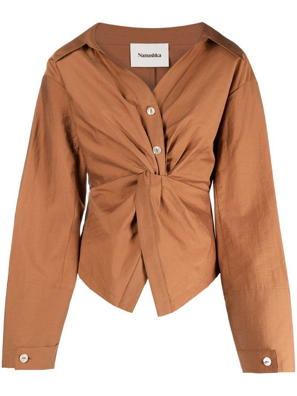 Nanushka long-sleeved gathered shirt in brown