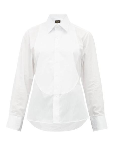 Emma Willis - Floral Jacquard Bib Cotton Poplin Shirt - Womens - White