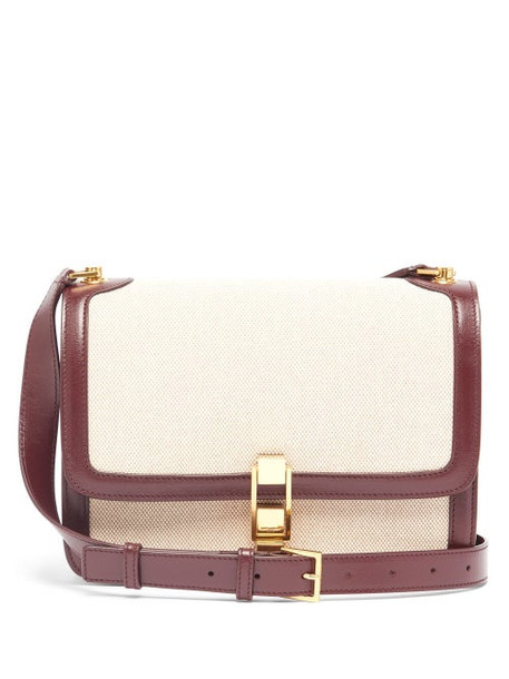 Saint Laurent - Carre Leather And Canvas Cross-body Bag - Womens - Beige Multi