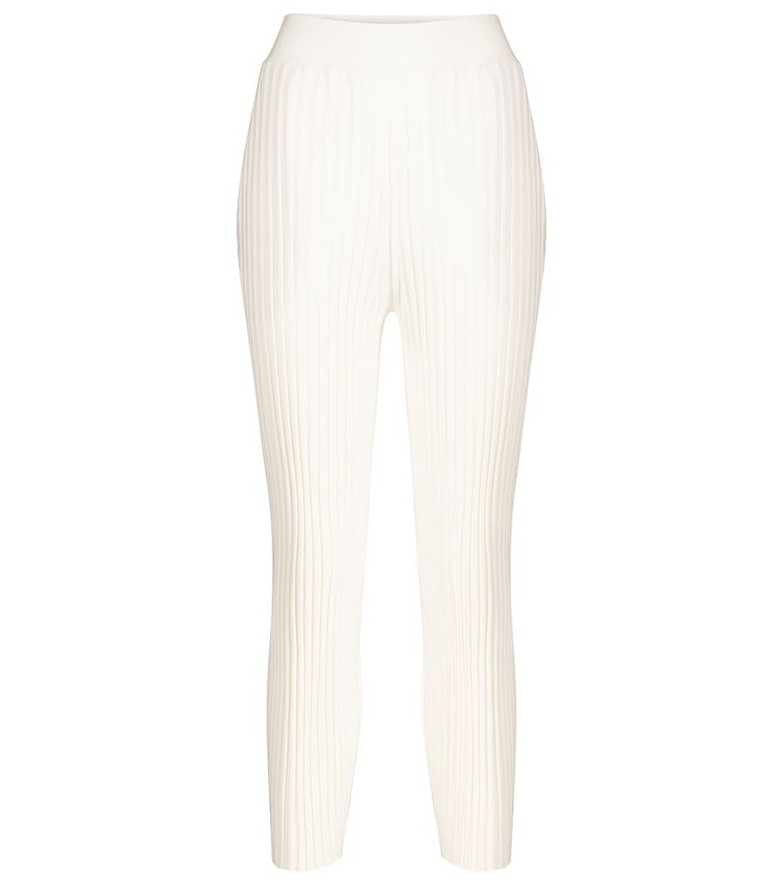 Stella McCartney Ribbed wool-blend straight pants in white