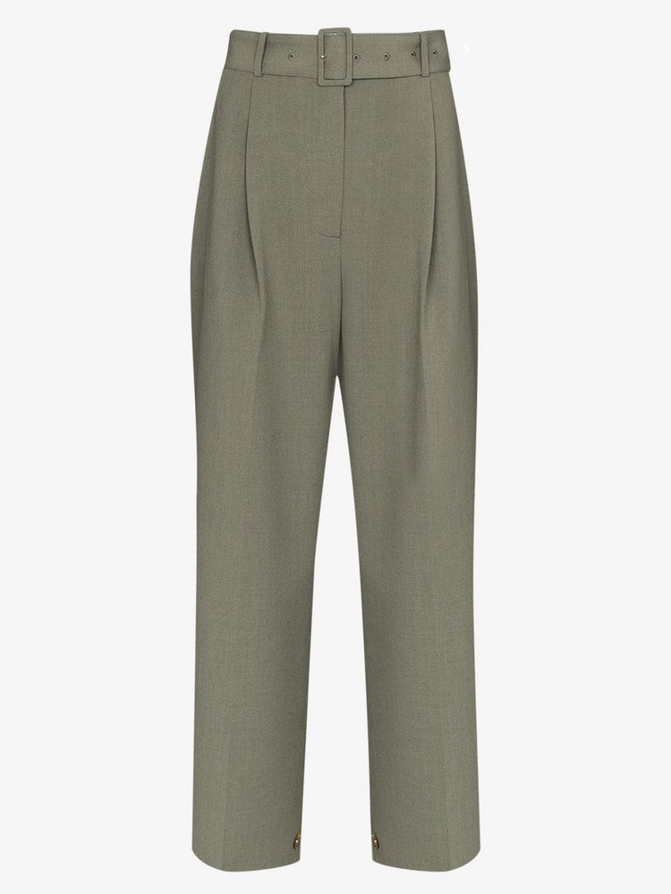 THE FRANKIE SHOP Elvira wide leg belted trousers in green