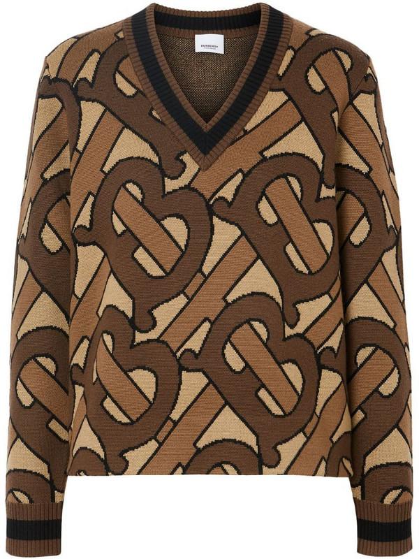 Burberry monogram intarsia v-neck jumper in brown