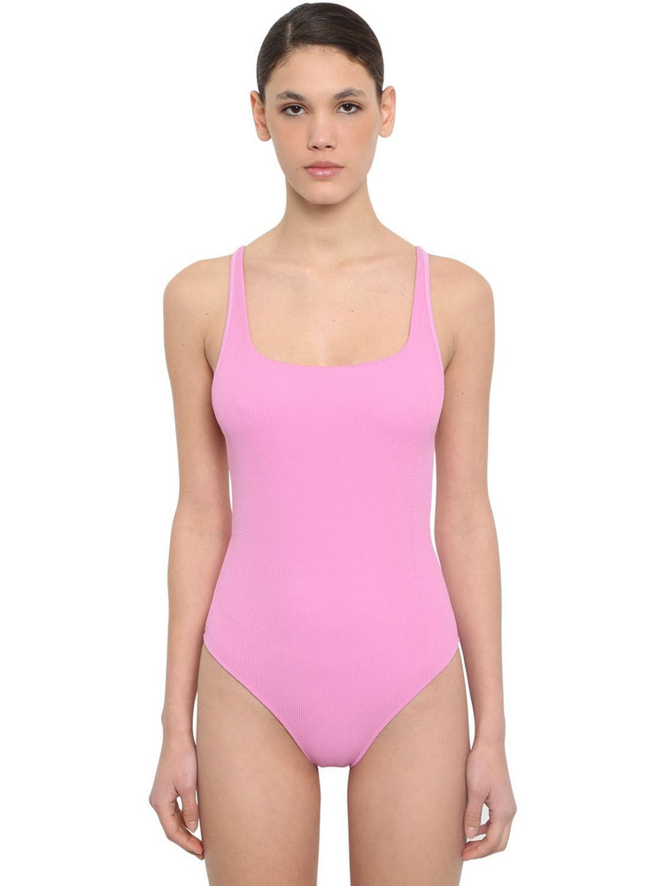GANNI Back Crossed Textured One Piece Swimsuit in pink