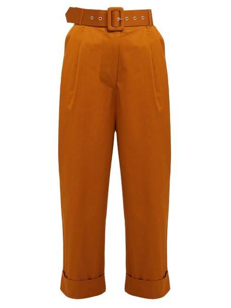 Isa Arfen - High Rise Cotton Blend Trousers - Womens - Tan